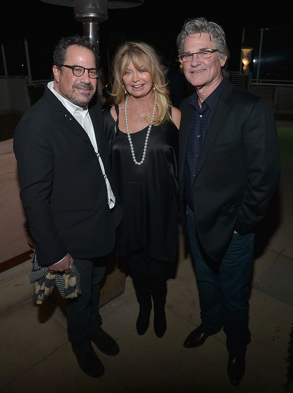 . WEST HOLLYWOOD, CA - JANUARY 04:  (L-R) Richard N. Gladstein, Kurt Russell and Goldie Hawn attend THE HATEFUL EIGHT Celebration With Quentin Tarantino And Filmmakers at Sunset Tower Hotel on January 4, 2016 in West Hollywood, California.  (Photo by Charley Gallay/Getty Images for The Weinstein Company)