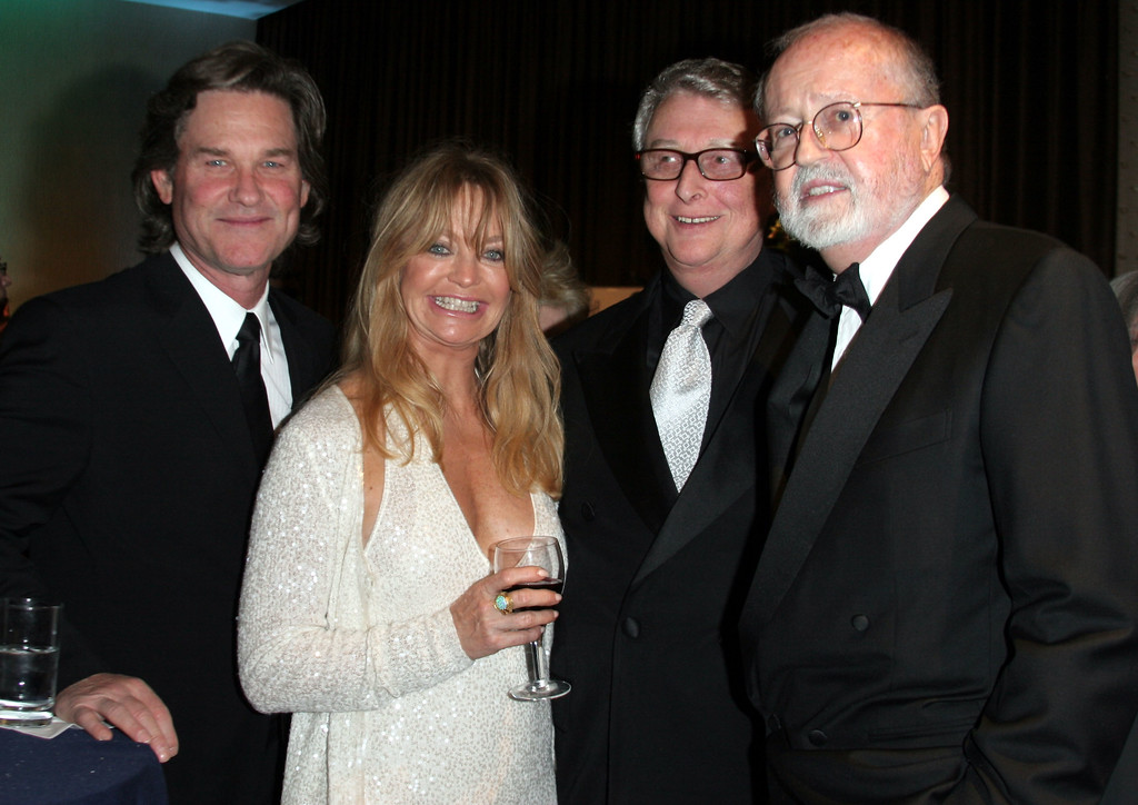. BEVERLY HILLS, CA - FEBRUARY 19:  Actor Kurt Russell, Actress Goldie Hawn, and Director Mike Nichols pose during the 7th Annual Costume Designers Guild Awards VIP Reception at the Beverly Hilton Hotel on February 19, 2005 in Beverly Hills, California.  (Photo by Getty Images/Getty Images)