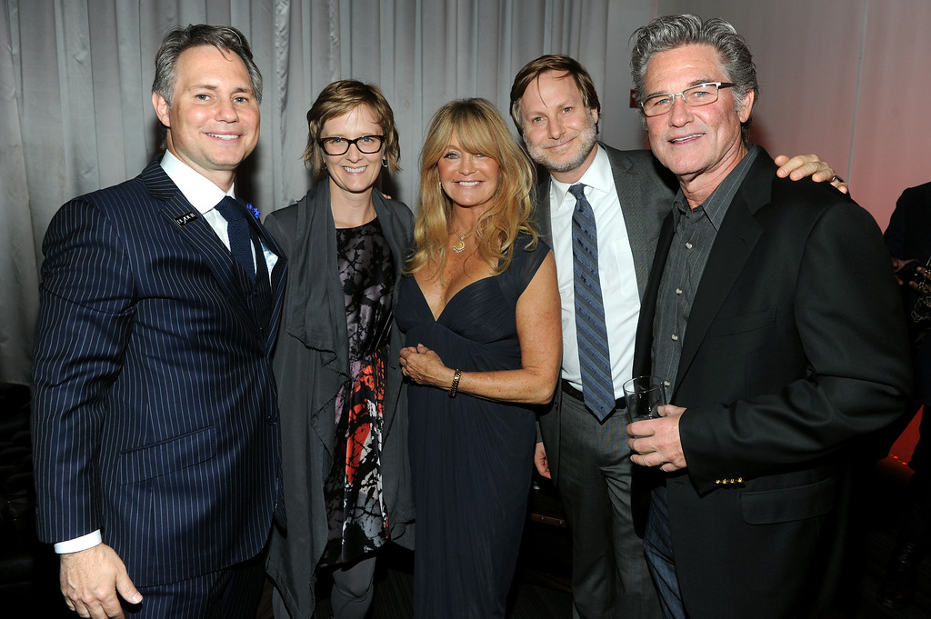 . NEW YORK, NY - SEPTEMBER 25: (L-R) Jason Binn, Ann Binstock, actress Goldie Hawn, Jonathan Binstock and actor Kurt Russell attend DuJour\'s Jason Binn and Kurt Russell\'s celebration of Goldie Hawn and The Hawn Foundation at Espace on September 25, 2013 in New York City.  (Photo by Jamie McCarthy/Getty Images for DuJour)