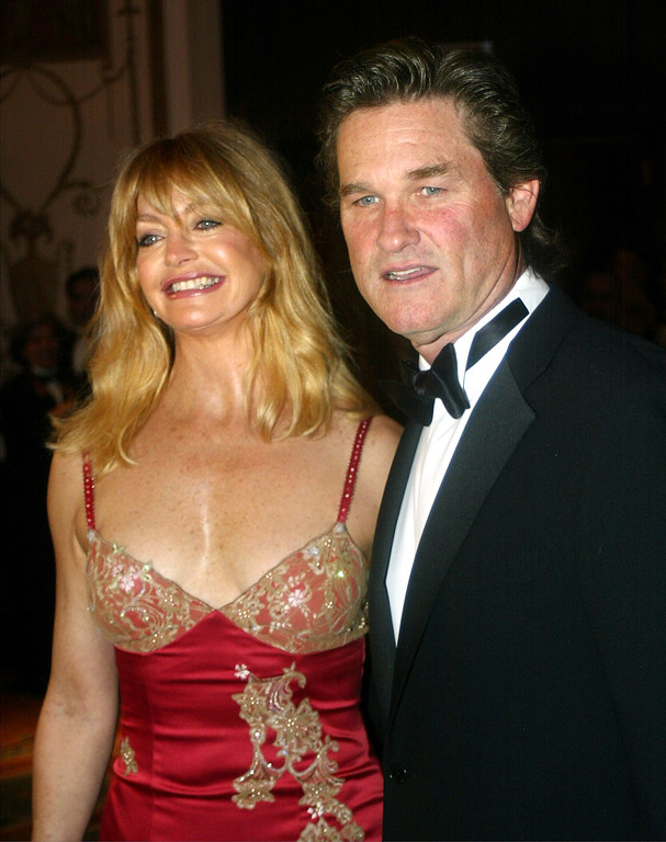 . Actor Kurt Russell and actress Goldie Hawn arrive at the American Museum of the Moving Images Salute to Mel Gibson March 7, 2002 in New York City. (Photo by Mario Tama/Getty Images)