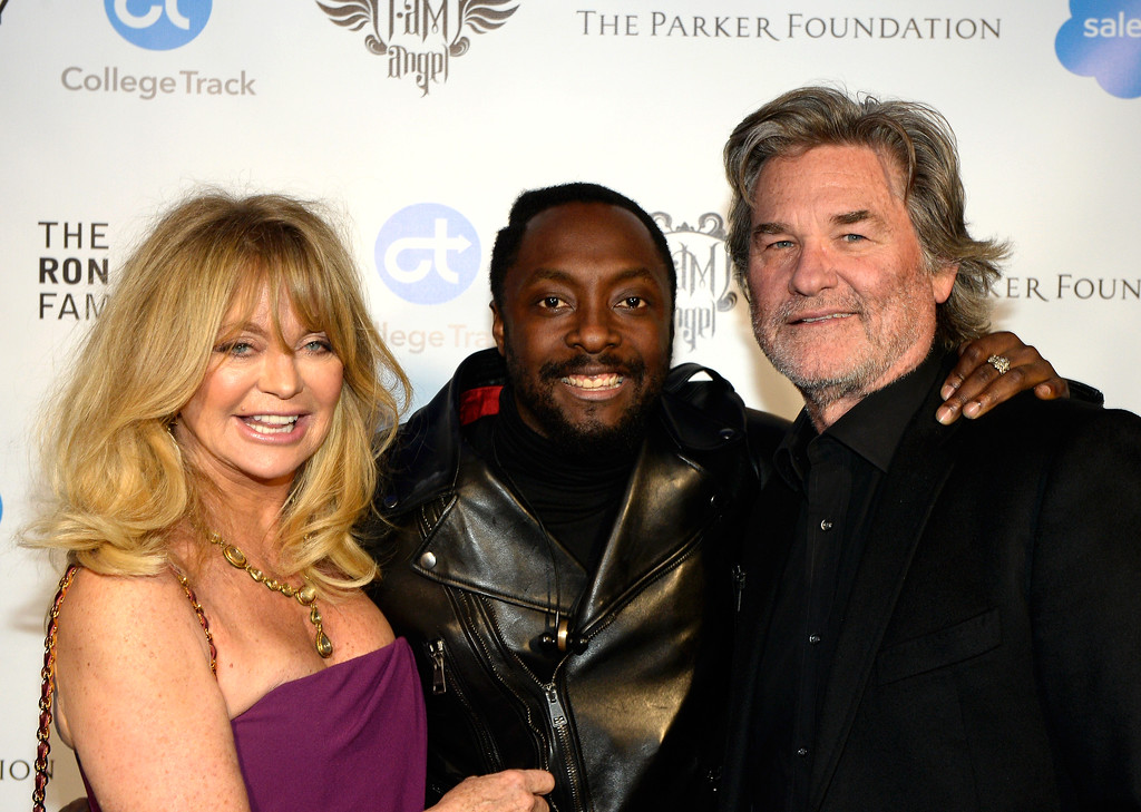 . HOLLYWOOD, CA - FEBRUARY 11:  (L-R) Actress Goldie Hawn, will.i.am, and actor Kurt Russell attend will.i.am\'s i.am.angel Foundation TRANS4M 2016 Gala at Milk Studios on February 11, 2016 in Hollywood, California.  (Photo by Kevork Djansezian/Getty Images for i.am angel foundation)