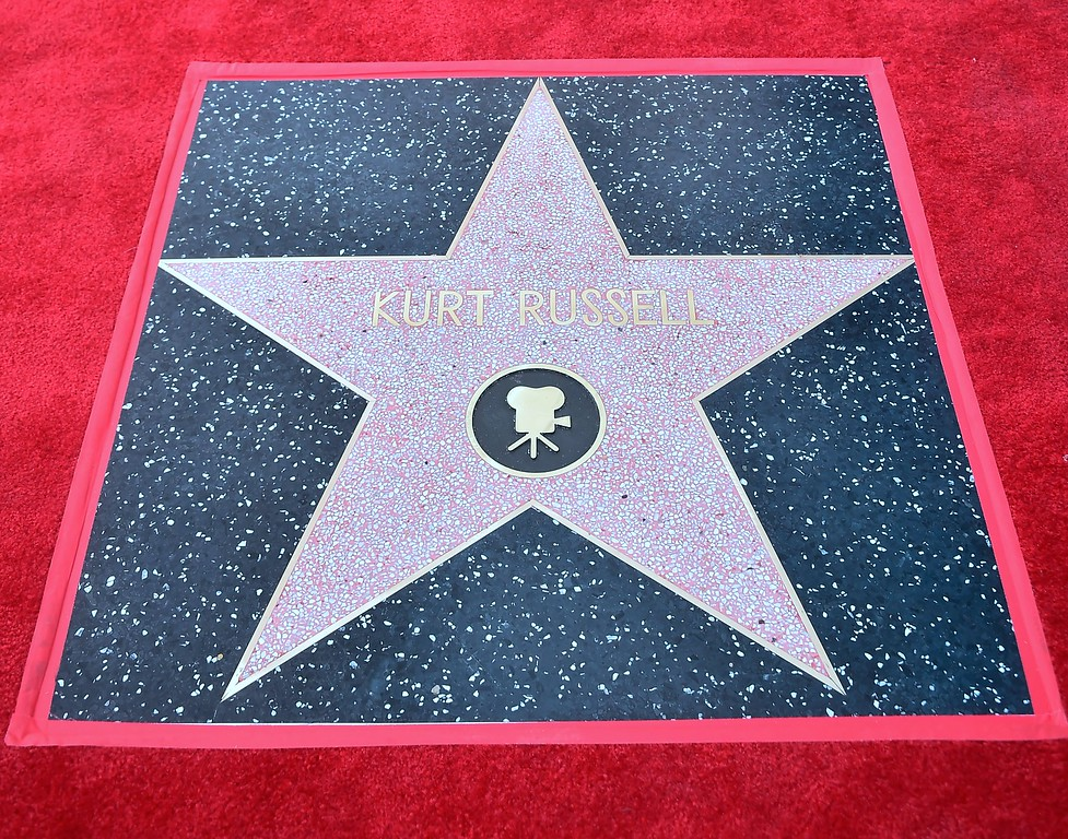 . Kurt Russell\'s unveiled Star following his and partner Goldie Hawn\'s Walk of Fame Stars ceremony in Hollywood, California on May 4, 2017.  (FREDERIC J. BROWN/AFP/Getty Images)