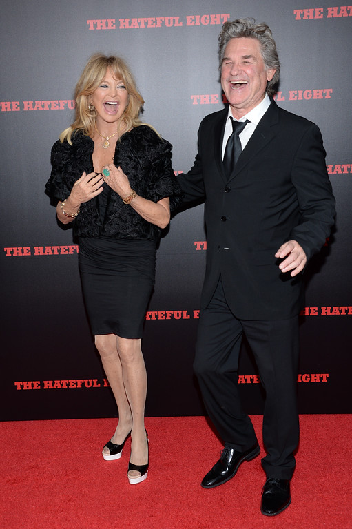 """. Actors Goldie Hawn and Kurt Russell attend the premiere of \""""The Hateful Eight\"""" at the Ziegfeld Theatre on Monday, Dec. 14, 2015, in New York. (Photo by Evan Agostini/Invision/AP)"""