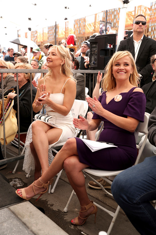 . Kate Hudson and Reese Witherspoon seen at Goldie Hawn and Kurt Russell honored with a double star ceremony on the Hollywood Walk of Fame on Thursday, May 4, 2017, in Los Angeles. (Photo by Eric Charbonneau/Invision for Twentieth Century Fox/AP Images)