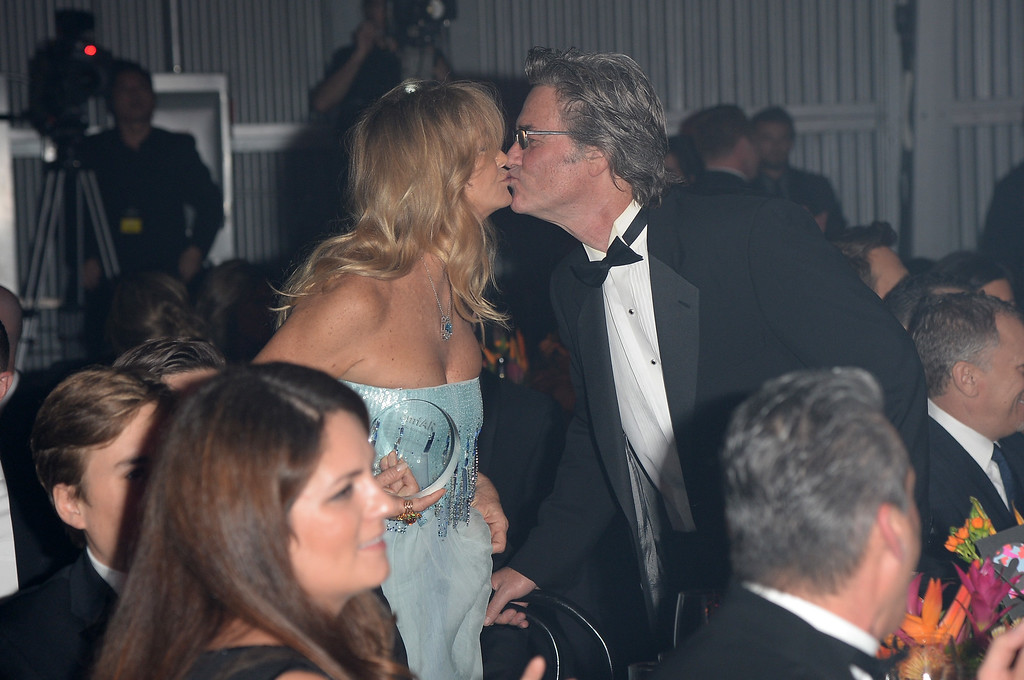 . LOS ANGELES, CA - DECEMBER 12: Honoree Goldie Hawn and actor Kurt Russell attend the 2013 amfAR Inspiration Gala Los Angeles presented by MAC Viva Glam at Milk Studios on December 12, 2013 in Los Angeles, California.  (Photo by Jason Merritt/Getty Images for amfAR)