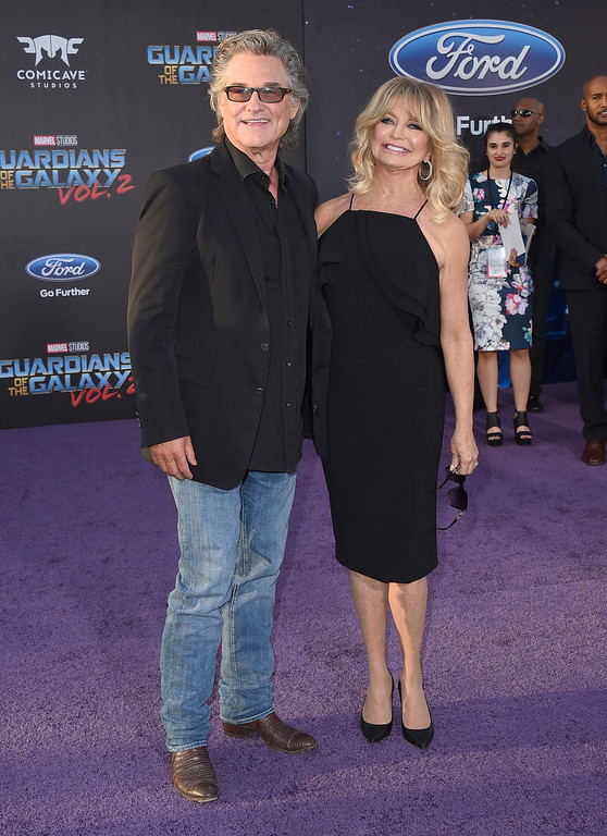 """. Kurt Russell, left, and Goldie Hawn arrive at the world premiere of \""""Guardians of the Galaxy Vol. 2\"""" at the Dolby Theatre on Wednesday, April 19, 2017, in Los Angeles. (Photo by Jordan Strauss/Invision/AP)"""