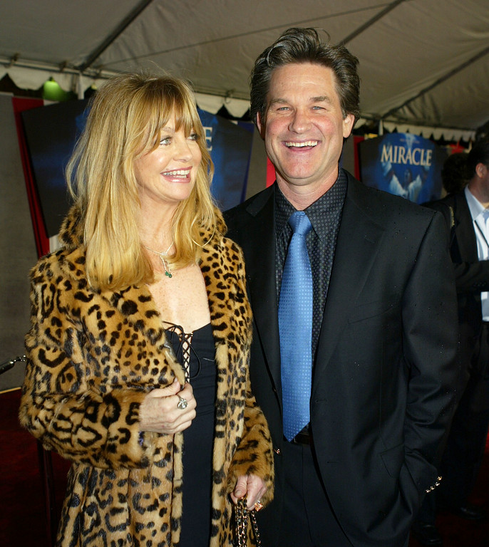 . Actress Goldie Hawn and actor Kurt Russell arrive at the premiere of Disneys\' \'Miracle\' at the El Capitan Theatre February 2, 2004 in Los Angeles, California. (Photo by Kevin Winter/Getty Images)