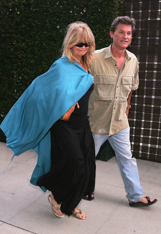 """. LOS ANGELES - JULY 14:  Actors Goldie Hawn and partner Kurt Russell attend the Premiere of HBO\'s \""""A Father...A Son...Once Upon A Time in Hollywood\"""" July 14, 2005 at the Academy of Motion Pictures Arts and Sciences, California.  (Photo by Mark Mainz/Getty Images)"""