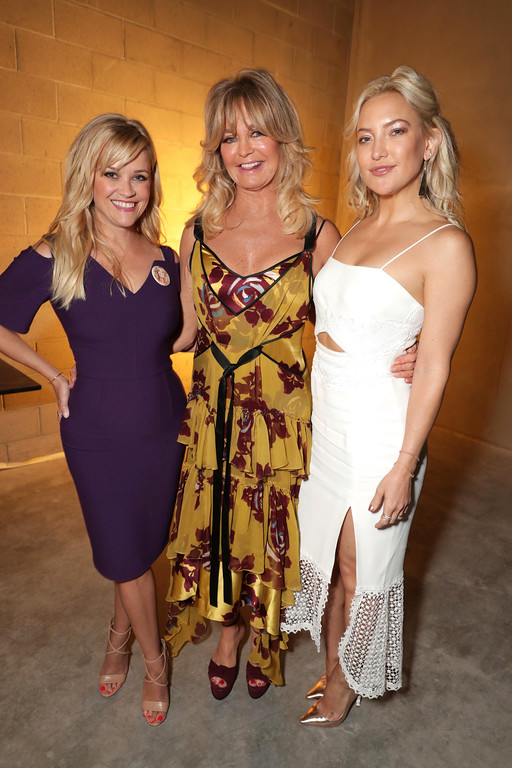 . Reese Witherspoon, Goldie Hawn and Kate Hudson are seen at a double star ceremony honoring Goldie Hawn and Kurt Russell on the Hollywood Walk of Fame on Thursday, May 4, 2017, in Los Angeles. (Photo by Eric Charbonneau/Invision for Twentieth Century Fox/AP Images)