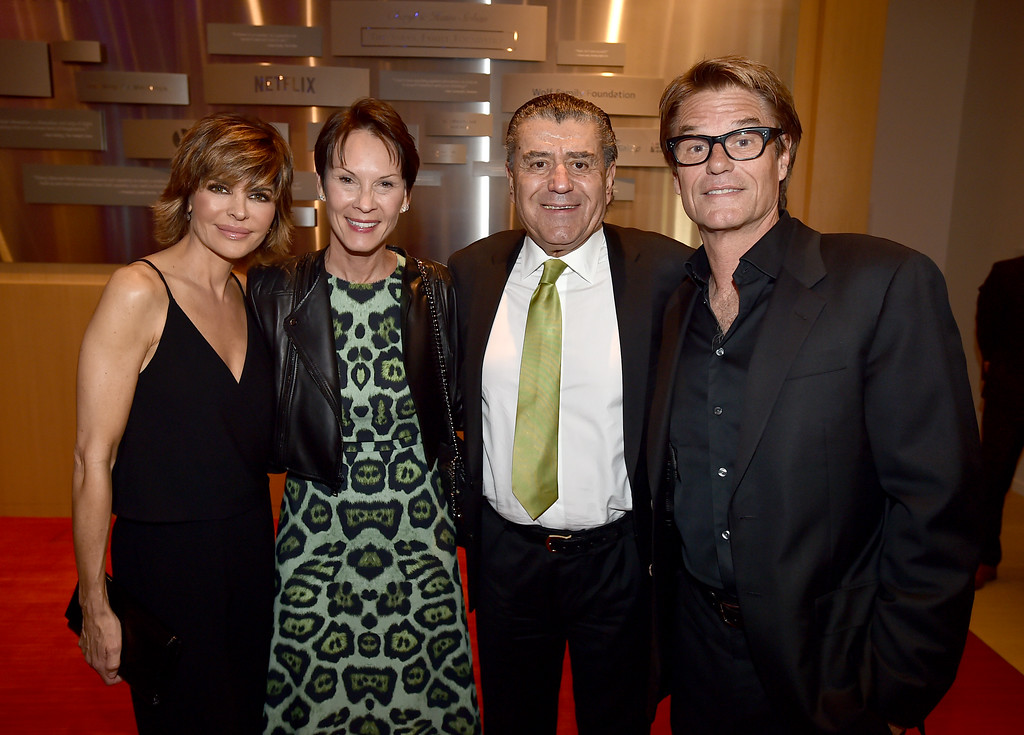 . Lisa Rinna, from left, Cheryl Saban, Haim Saban and Harry Hamlin attend the Television Academy�s 70th Anniversary Gala and Opening Celebration for its new Saban Media Center on June 2, 2016, in the NoHo Arts District in Los Angeles. (Photo by Jordan Strauss/Invision for the Television Academy/AP Images)