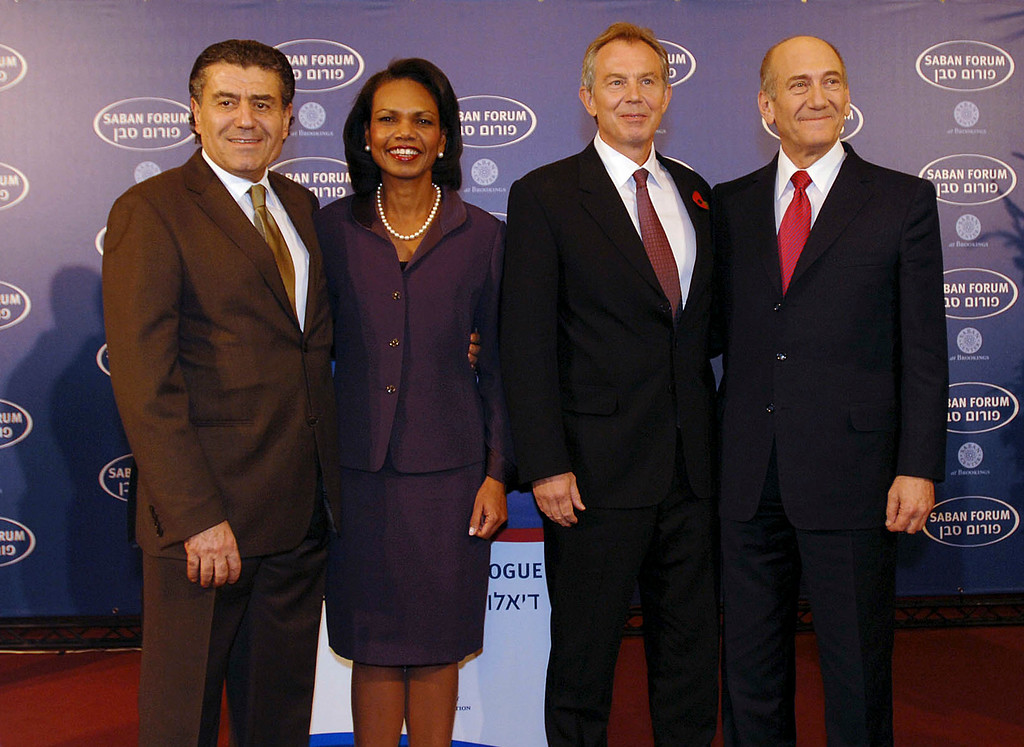 . JERUSALEM - NOVEMBER 4:  In this handout image provided by the U.S. Embassy, (L-R) Haim Saban, U.S. Secretary of State Condoleezza Rice, Quartet envoy Tony Blair and Israeli Prime Minister Ehud Olmert  pose at the King David Hotel for the Saban Forum on November 4, 2007 at the Prime Minister\'s Residence in Jerusalem, Israel. Rice is meeting Israeli and Palestinian leaders to make final preparations for the Annapolis peace summit scheduled to take place later this month. (Photo by Matty Stern/U.S. Embassy via Getty Images)