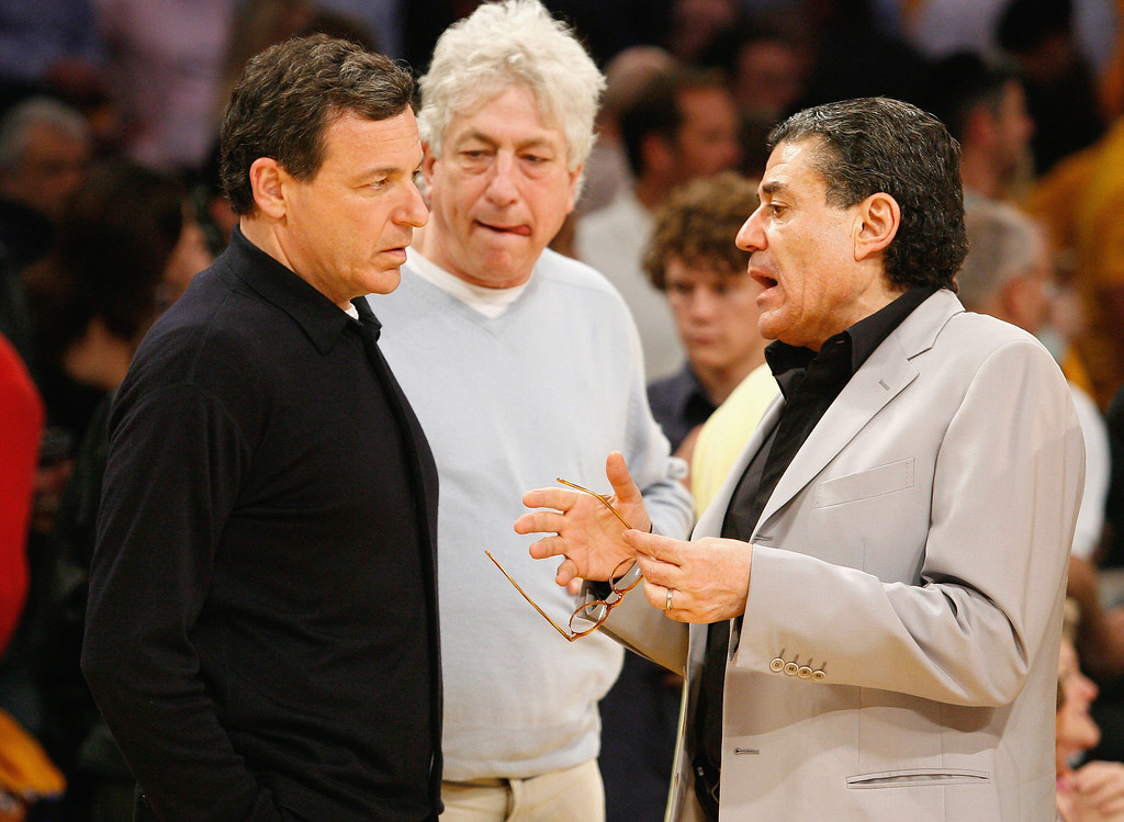 . LOS ANGELES, CA - APRIL 26:  Media moguls Robert Iger and Haim Saban attend the Los Angeles Lakers vs. Phoenix Suns NBA playoff game on April 26, 2007 at the Staples Center in Los Angeles, California. (Photo by Vince Bucci/Getty Images).