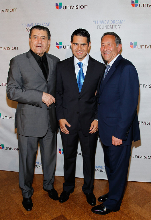 ". NEW YORK - JUNE 03:  Philanthropist Haim Saban, Honoree/Univision Networks President Cesar Conde, Chief Executive Officer, Univision Communications, Joe Uva attend the 2010 ""I Have a Dream\"" Foundation Spring Gala at 583 Park Avenue on June 3, 2010 in New York City.  (Photo by Mark Von Holden/Getty Images for I Have a Dream Foundation)"