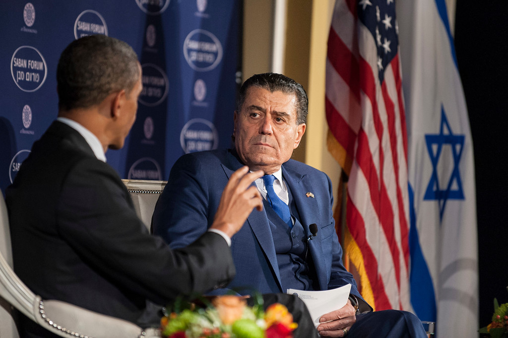". WASHINGTON, DC - DECEMBER 7: (AFP OUT)U.S. President Barack Obama participates in a conversation with Saban Forum Chairman Haim Saban at the 10th annual Saban Forum, ""Power Shifts: U.S.-Israel Relations in a Dynamic Middle East\"" at the Willard Hotel on December 7, 2013 in Washington, DC. Obama defended the nuclear agreement with Iran and took questions from the audience. (Photo by Pete Marovich/Getty Images)"
