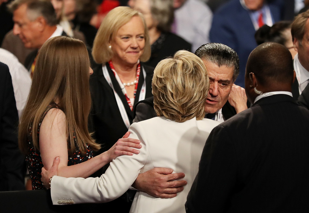 . LAS VEGAS, NV - OCTOBER 19:  Businessman Haim Saban embraces Democratic presidential nominee former Secretary of State Hillary Clinton after the third U.S. presidential debate at the Thomas & Mack Center on October 19, 2016 in Las Vegas, Nevada. Tonight is the final debate ahead of Election Day on November 8.  (Photo by Joe Raedle/Getty Images)