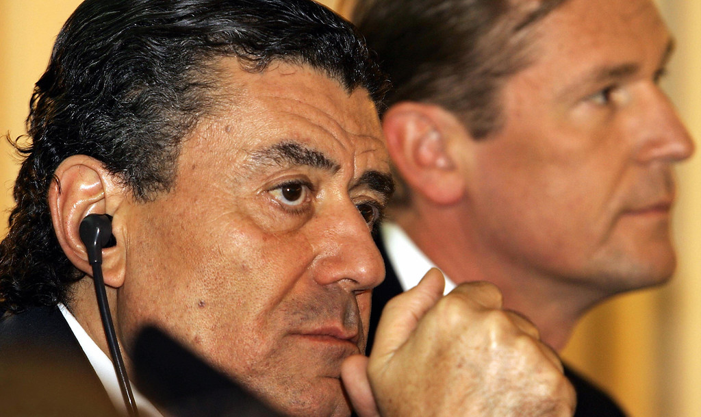 . MUNICH, Germany:  US-Israeli businessman Haim Saban (L) and Chairman of German publishing group Axel Springer Mathias Doepfner (R) address a press conference in Munich 05 August 2005. Axel Springer, Europe\'s leading newspaper publisher said it would buy a majority stake in ProSiebenSAT.1, Germany\'s biggest free-to-air broadcaster, in a cash-and-share deal for 2.47 billion euros (3.05 billion dollars). ProSiebenSAT.1 is currently controlled by a consortium of US investors led by Saban and a number of investment funds. (JOERG KOCH/AFP/Getty Images)
