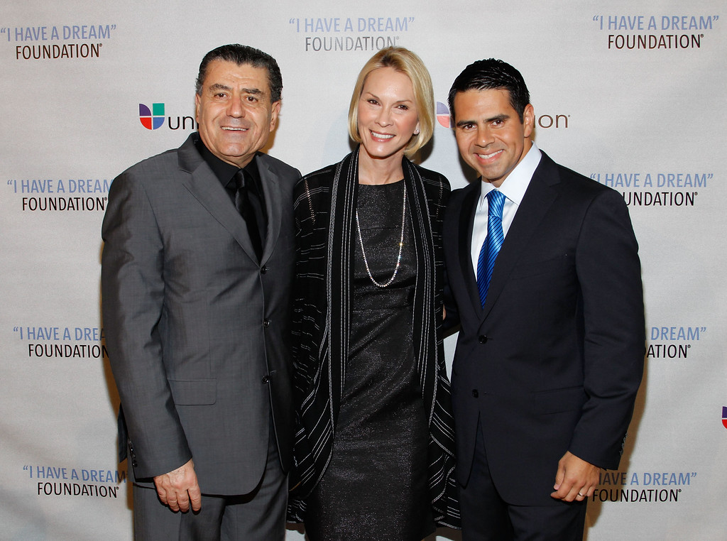 ". NEW YORK - JUNE 03:  Philanthropist Haim Saban, Cheryl Saban, and Honoree/Univision Networks President Cesar Conde attend the 2010 ""I Have a Dream\"" Foundation Spring Gala at 583 Park Avenue on June 3, 2010 in New York City.  (Photo by Mark Von Holden/Getty Images for I Have a Dream Foundation)"