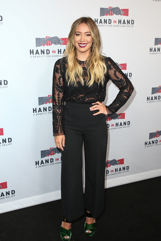 . Hilary Duff attends the Hand in Hand: A Benefit for Hurricane Harvey Relief held at Universal Studios Back Lot on Tuesday, Sept. 12, 2017 in Los Angeles. (Photo by John Salangsang/Invision/AP)