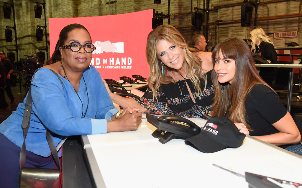 . UNIVERSAL CITY, CA - SEPTEMBER 12:  In this handout photo provided by Hand in Hand, Oprah Winfrey, Rita Wilson and Sofia Vergara attend Hand in Hand: A Benefit for Hurricane Relief at Universal Studios AMC on September 12, 2017 in Universal City, California.  (Photo by Kevin Mazur/Hand in Hand/Getty Images)