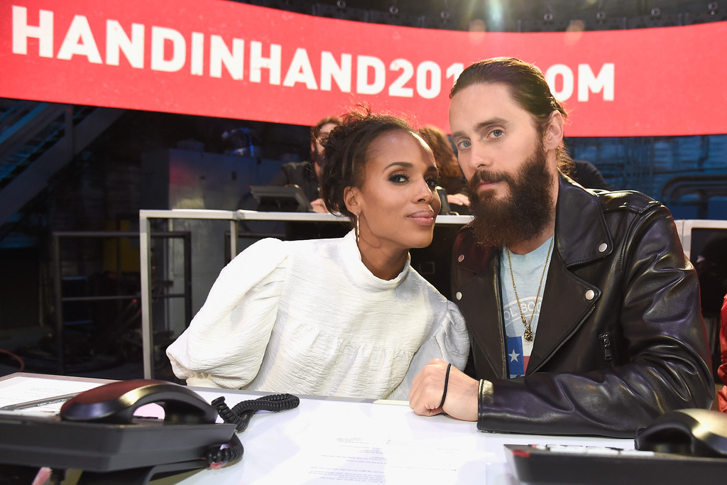 . UNIVERSAL CITY, CA - SEPTEMBER 12:  In this handout photo provided by Hand in Hand, Kerry Washington and Jared Leto attend Hand in Hand: A Benefit for Hurricane Relief at Universal Studios AMC on September 12, 2017 in Universal City, California.  (Photo by Kevin Mazur/Hand in Hand/Getty Images)