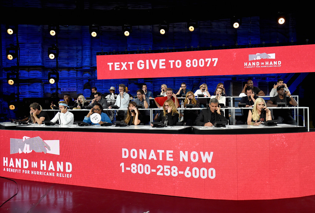 . UNIVERSAL CITY, CA - SEPTEMBER 12:  In this handout photo provided by Hand in Hand, celebrity volunteers attend Hand in Hand: A Benefit for Hurricane Relief at Universal Studios AMC on September 12, 2017 in Universal City, California.  (Photo by Kevin Mazur/Hand in Hand/Getty Images)