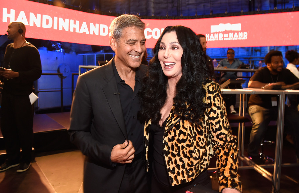 . UNIVERSAL CITY, CA - SEPTEMBER 12:  In this handout photo provided by Hand in Hand, George Clooney and Cher attend Hand in Hand: A Benefit for Hurricane Relief at Universal Studios AMC on September 12, 2017 in Universal City, California.  (Photo by Kevin Mazur/Hand in Hand/Getty Images)