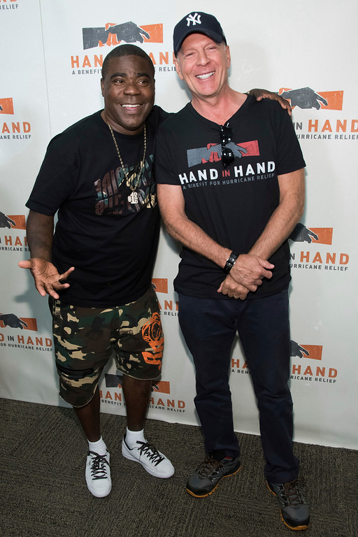 . Tracy Morgan, left, and Bruce Willis attend Hand in Hand: A Benefit for Hurricane Harvey Relief at ABC Studios on Tuesday Sept. 12, 2017 in New York. (Photo by Charles Sykes/Invision/AP)