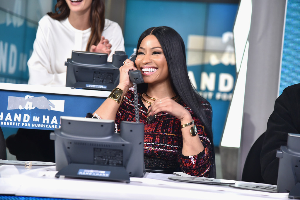 . NEW YORK, NY - SEPTEMBER 12:  In this handout photo provided by Hand in Hand, Nicki Minaj caption on at ABC News\' Good Morning America Times Square Studio on September 12, 2017 in New York City.  (Photo by Theo Wargo/Hand in Hand/Getty Images)