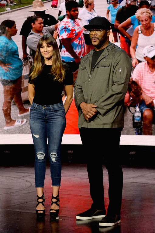 . UNIVERSAL CITY, CA - SEPTEMBER 12:  In this handout photo provided by Hand in Hand, Sofia Vergara and Tyler Perry attend Hand in Hand: A Benefit for Hurricane Relief at Universal Studios AMC on September 12, 2017 in Universal City, California.  (Photo by Kevin Mazur/Hand in Hand/Getty Images)