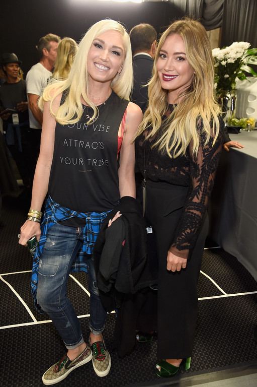 . UNIVERSAL CITY, CA - SEPTEMBER 12:  In this handout photo provided by Hand in Hand, Gwen Stefani (L) and Hilary Duff attend Hand in Hand: A Benefit for Hurricane Relief at Universal Studios AMC on September 12, 2017 in Universal City, California.  (Photo by Kevin Mazur/Hand in Hand/Getty Images)