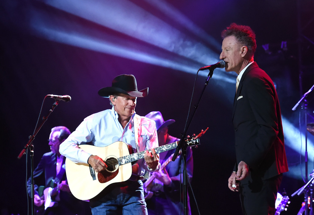 . SAN ANTONIO, TX - SEPTEMBER 12:  George Strait (L) and Lyle Lovett perform onstage during George Strait\'s Hand in Hand Texas benefit concert; Strait and special guests Miranda Lambert, Chris Stapleton, Lyle Lovett and Robert Early Keen perform in concert at the Majestic Theatre on September 12, 2017 in San Antonio, Texas.  (Photo by Rick Diamond/Getty Images for George Strait)