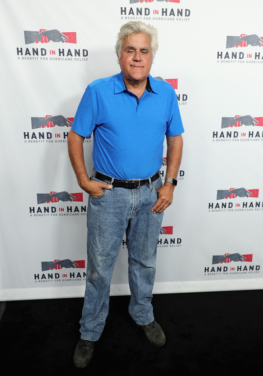 . UNIVERSAL CITY, CA - SEPTEMBER 12:  In this handout photo provided by Hand in Hand, Jay Leno attends Hand in Hand: A Benefit for Hurricane Relief at Universal Studios AMC on September 12, 2017 in Universal City, California.  (Photo by Neilson Barnard/Hand in Hand/Getty Images)