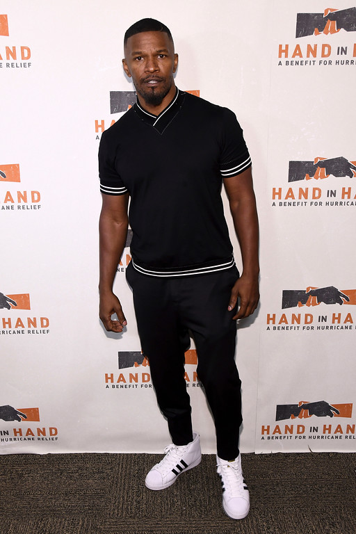. Jamie Foxx attends Hand in Hand: A Benefit for Hurricane Harvey Relief at ABC Studios on Tuesday Sept. 12, 2017 in New York. (Photo by Charles Sykes/Invision/AP)