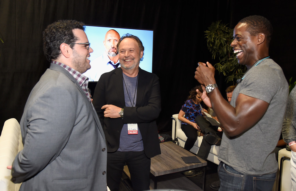 . UNIVERSAL CITY, CA - SEPTEMBER 12:  In this handout photo provided by Hand in Hand, Josh Gad, Billy Crystal and Sterling K. Brown attend Hand in Hand: A Benefit for Hurricane Relief at Universal Studios AMC on September 12, 2017 in Universal City, California.  (Photo by Kevin Mazur/Hand in Hand/Getty Images)