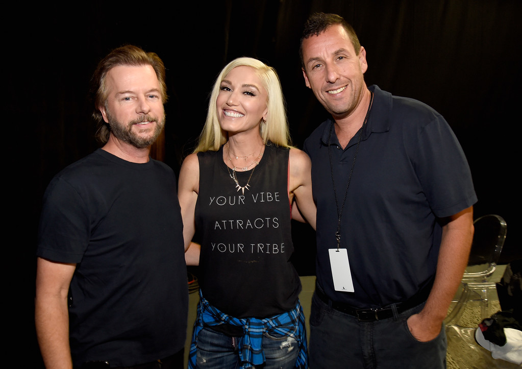 . UNIVERSAL CITY, CA - SEPTEMBER 12:  In this handout photo provided by Hand in Hand, David Spade, Gwen Stefani and Adam Sandler attend Hand in Hand: A Benefit for Hurricane Relief at Universal Studios AMC on September 12, 2017 in Universal City, California.  (Photo by Kevin Mazur/Hand in Hand/Getty Images)