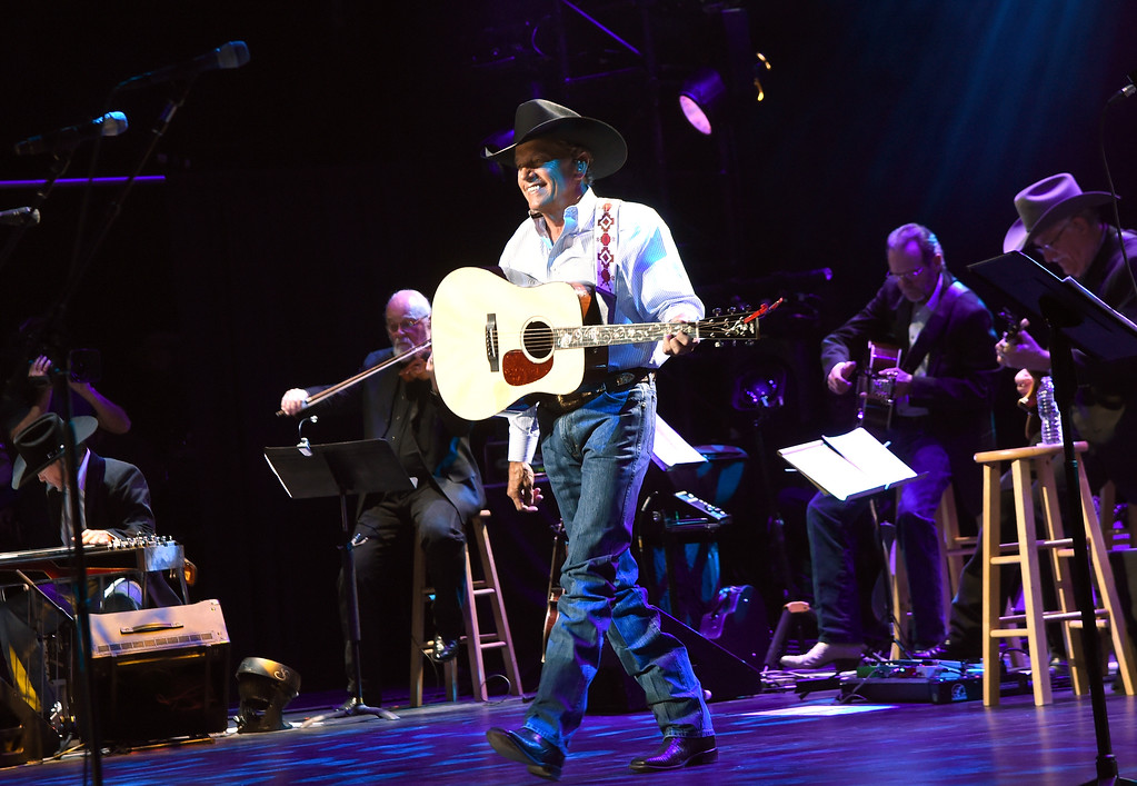 . SAN ANTONIO, TX - SEPTEMBER 12:  George Strait performs onstage during George Strait\'s Hand in Hand Texas benefit concert; Strait and special guests Miranda Lambert, Chris Stapleton, Lyle Lovett and Robert Early Keen perform in concert at the Majestic Theatre on September 12, 2017 in San Antonio, Texas.  (Photo by Rick Diamond/Getty Images for George Strait)