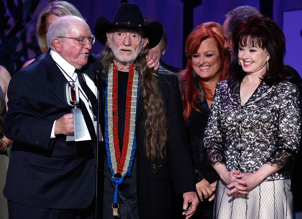 . SANTA MONICA, CA - APRIL 14:  Producer Sam Lovullo, musicians Willie Nelson, Wynonna Judd and Naomi Judd accept the Entertainers Award onstage during the 5th Annual TV Land Awards held at Barker Hangar on April 14, 2007 in Santa Monica, California.  Publicists the Brokaw Company said Thursday, Jan. 5, 2017, that Lovullo died at his home in Los Angeles on Tuesday, Jan 3, 2017. He had been suffering from heart disease. He was 88.  (Photo by Kevin Winter/Getty Images)