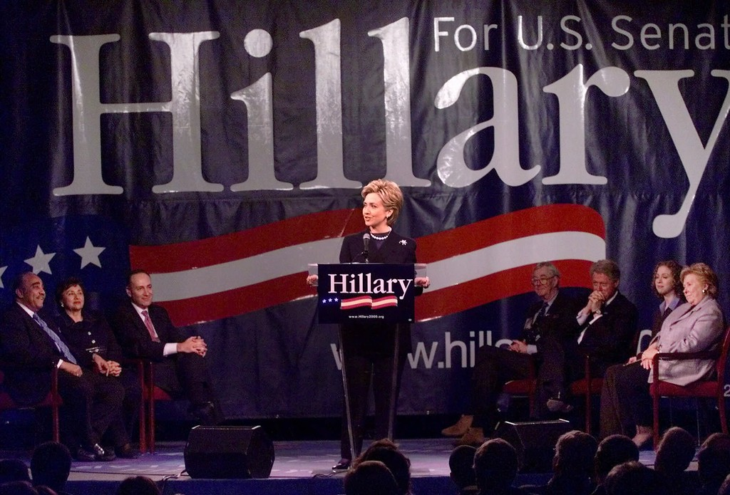 . Surrounded by family and fellow Democrats, Hillary Rodham Clinton announces her candidacy for the U.S. Senate on Sunday, Feb. 6, 2000 in Purchase, N.Y. Supporting the first lady, from left, are Rep. Charles Rangel, D-N.Y., Rep. Nita Lowey, D-N.Y., Sen. Charles Schumer, D-N.Y., Sen. Daniel Patrick Moynihan, D-N.Y., President Clinton, Chelsea Clinton and Mrs. Clinton\'s mother, Dorothy Rodham. (AP Photo/Kathy Willens)