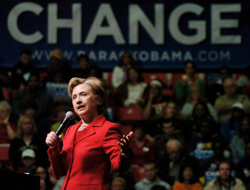 . Sen. Hillary Clinton, D-N.Y., addresses a rally of Barack Obama supporters Friday, Oct. 17, 2008 on the campus of Youngstown State University in Youngstown, Ohio.  (Photo/Mark Stahl)