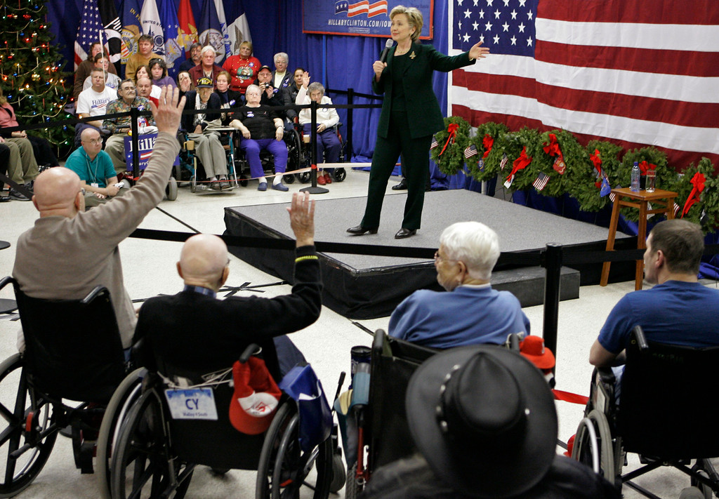 . Democratic presidential hopeful, Sen. Hillary Rodham Clinton, D-N.Y., speaks at a �Holidays with Hillary� campaign stop at the Iowa Veterans Home Sunday, Dec. 23, 2007 in Marshalltown, Iowa.   (AP Photo/M. Spencer Green)