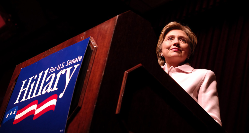 . U.S. Sen. Hillary Clinton, D-N.Y., speaks at a fundraising dinner for her 2006 Senate campaign, Tuesday, Dec. 13, 2005, in New York.  (AP Photo/Jason DeCrow)