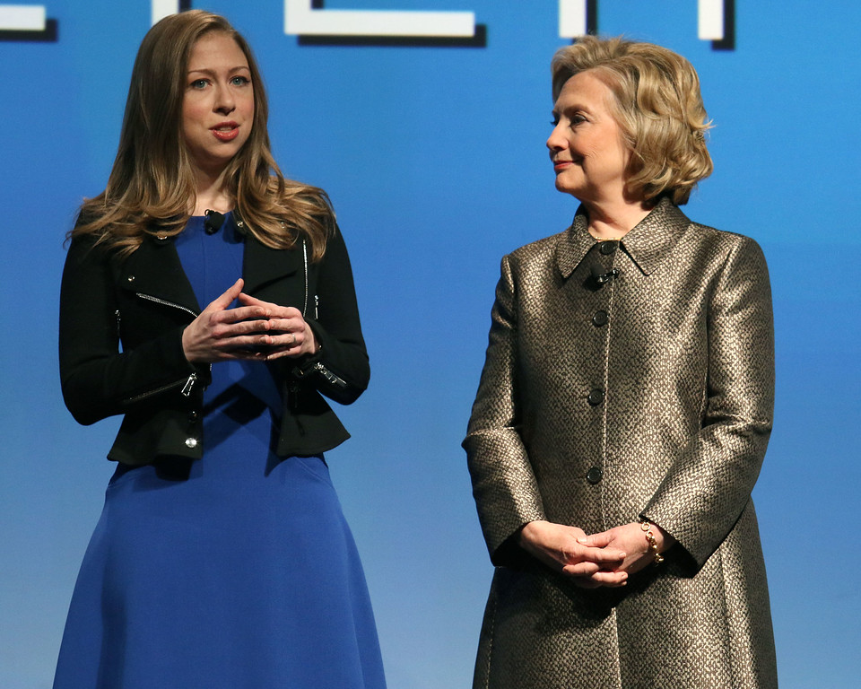 ". Chelsea Clinton, left, and Hillary Rodham Clinton participate in the ""No Celings: The Full Participation Project,\"" in New York, Monday, March 9, 2015. (Photo by Greg Allen/Invision/AP)"