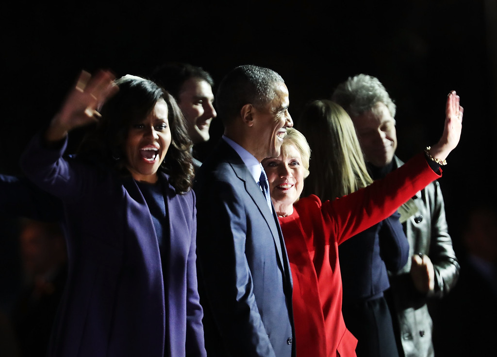 . PHILADELPHIA, PA - NOVEMBER 07:  Democratic presidential nominee former Secretary of State Hillary Clinton stands with President Barack Obama and Michelle Obama during an election eve rally on November 7, 2016 in Philadelphia, Pennsylvania. As the historic race for the presidency of the United States comes to a conclusion, both Clinton and her rival Donald Trump are making their last appearances before voting begins tomorrow.  (Photo by Spencer Platt/Getty Images)