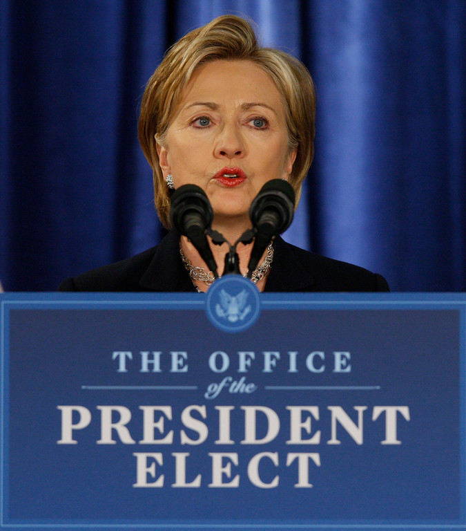 . FILE - In this Monday, Dec. 1, 2008 fiel photo Secretary of State-designate Sen. Hillary Rodham Clinton, D-N.Y., speaks during a news conference with President-elect Barack Obama, not pictured, in Chicago.  (AP Photo/Charles Dharapak, File)