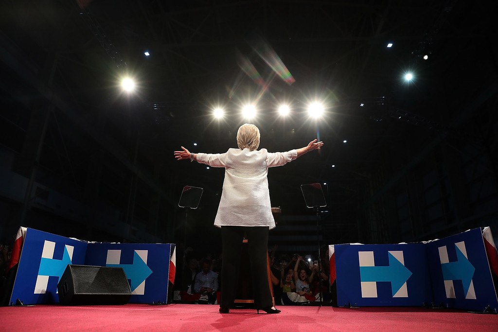 . BROOKLYN, NY - JUNE 07:  Democratic presidential candidate former Secretary of State Hillary Clinton speaks during a primary night event on June 7, 2016 in Brooklyn, New York.  Hillary Clinton beat rival Bernie Sanders in the New Jersey presidential primary (Photo by Justin Sullivan/Getty Images)