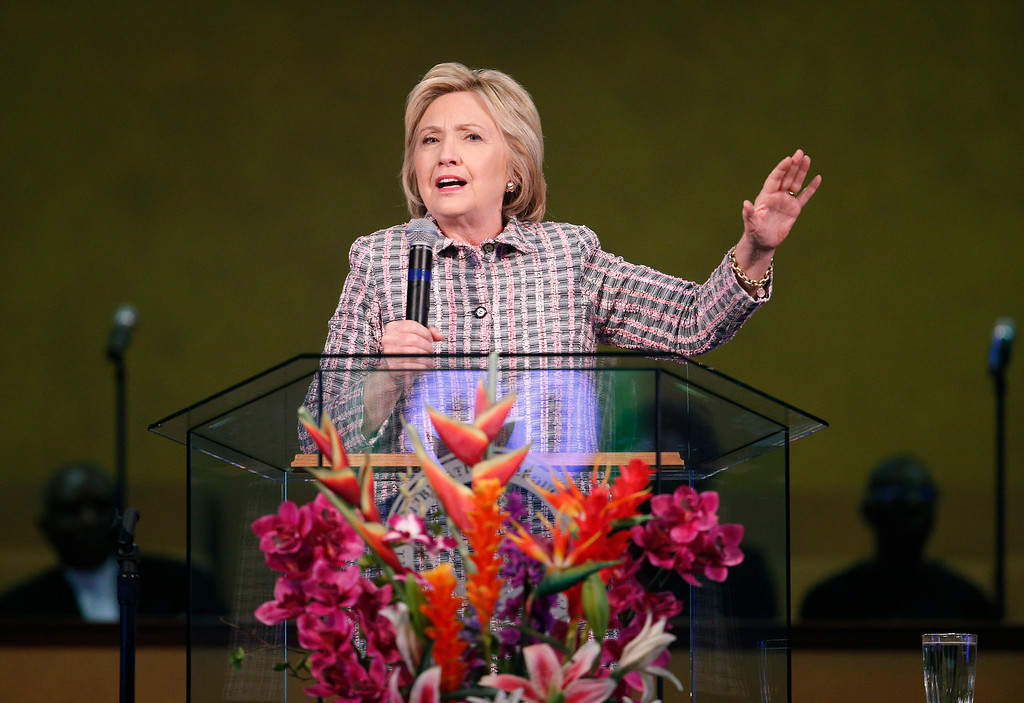 . Democratic presidential candidate Hillary Clinton speaks at the Greater St. Paul Church, Sunday, June 5, 2016, in Oakland, Calif. (AP Photo/John Locher)