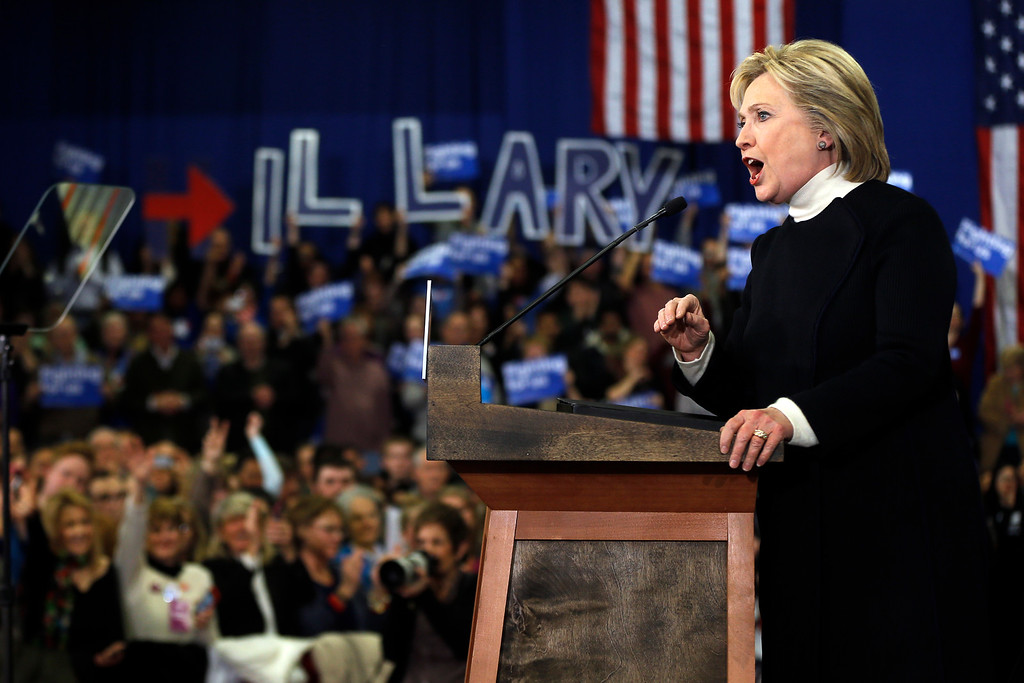 . Democratic presidential candidate Hillary Clinton speaks at her first-in-the-nation presidential primary campaign rally, Tuesday, Feb. 9, 2016, in Hooksett, N.H. Clinton lost to Bernie Sanders in New Hampshire.  (AP Photo/Matt Rourke)