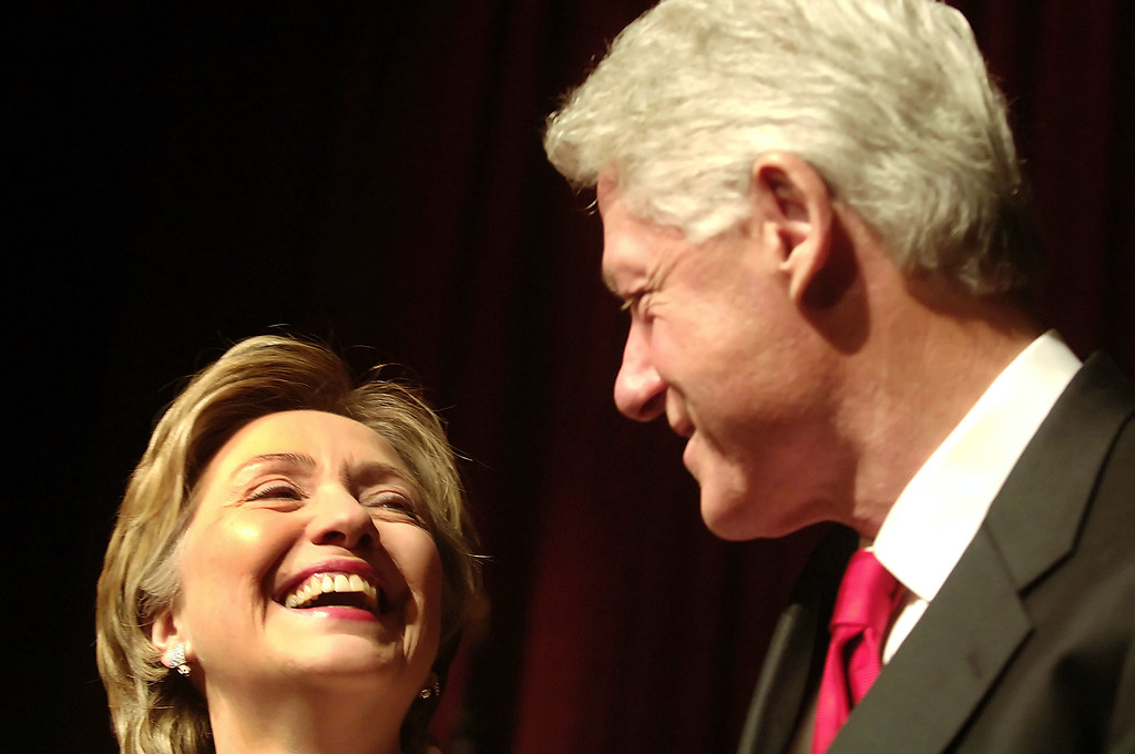 . Former President Bill Clinton introduces his wife, Sen. Hillary Clinton, D-New York, at a fundraising dinner for her 2006 Senate campaign Tuesday, Dec. 13, 2005 in New York.  (AP Photo/Jason DeCrow)