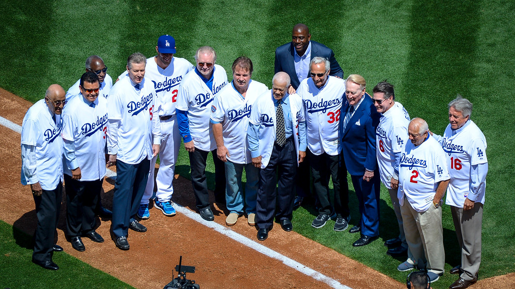 . The voice of the Dodgers, Vin Scully, poses with Dodger greats before the home opener at Dodger stadium Tuesday, April 12, 2016.   (Photo by David Crane Southern California News Group)
