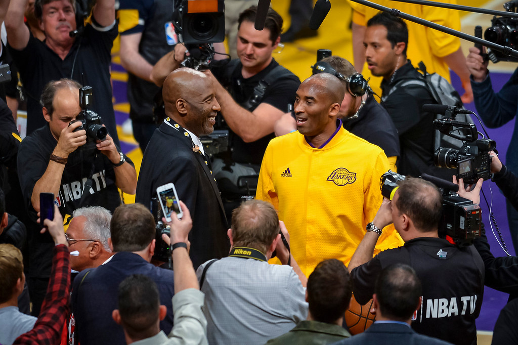 . Kobe Bryant arrives or his final game as a Los Angeles Laker against the Utah Jazz. April 13, 2016. Los Angeles, CA.  (Photo by David Crane/Southern California News Group)